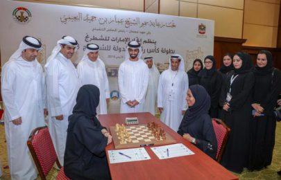 حميد بن عمار النعيمي يفتتح كأس رئيس الدولة للشطرنج