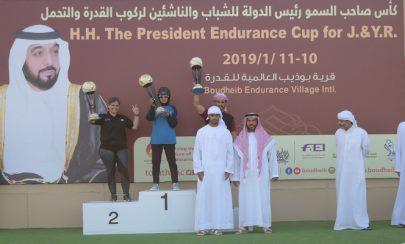 زايد بن محمد بن خليفة يتوج الفائزين بكأس رئيس الدولة لركوب القدرة