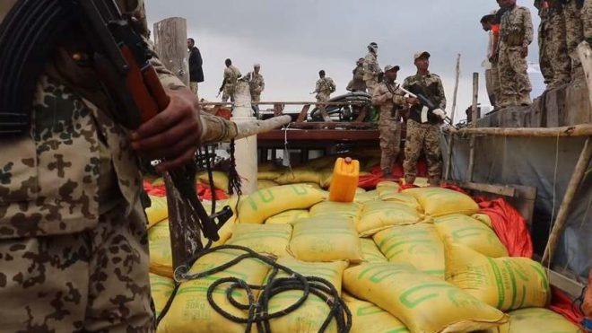 القوات اليمنية المشتركة تسيطر على 200 طن متفجرات حوثية في البحر