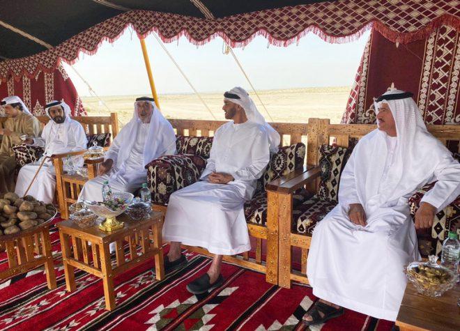 رئيس الدولة بصحبة محمد بن زايد والشيوخ في جولة بغابة محمية