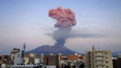 تحذير ياباني من انفجار غير معتاد لبركان ساكوراجيما