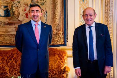 عبدالله بن زايد ولودريان يؤكدان عمق العلاقات الإماراتية الفرنسية