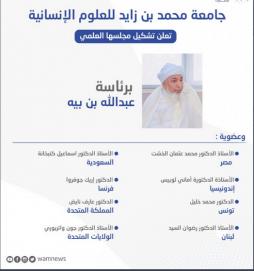 جامعة محمد بن زايد للعلوم الإنسانية تعلن تشكيل مجلسها العلمي برئاسة عبدالله بن بيه