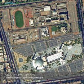 صورة التقطها القمر الاصطناعي خليفة سات لمسجد الشيخ خليفة بن زايد آل نهيان