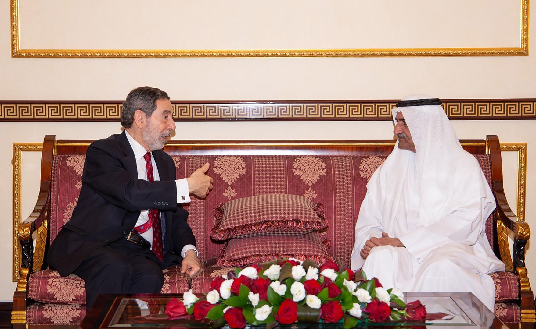 حاكم الفجيرة يبحث تعزيز التعاون مع رئيس الغرفة التجارية العربية البرازيلية
